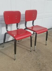 Vintage Mid Century American Desk Red Fiberglass School Chair Temple Tx