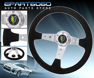350mm Suede Black Leather Red Stitching Steering Wheel Jdm Leaf Button Horn Logo