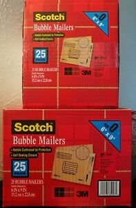 50 Bubble Mailers 0 6 X 9 Interior Self Sealing Closure Scotch 3m Usa Made