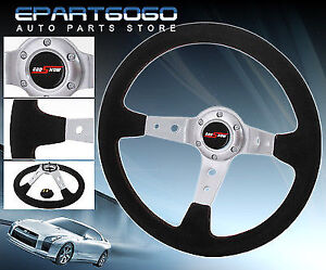 350mm Suede Black Leather Red Stitching 3 Spokes Steering Wheel Jdm Button Horn