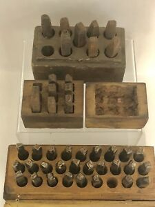 Antique Metal Leather Punch Die Alphabet Number Stamp Sets In Wood Boxes