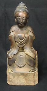 Chinese Sculpted Wood Figure Of An Ancestor 19th C