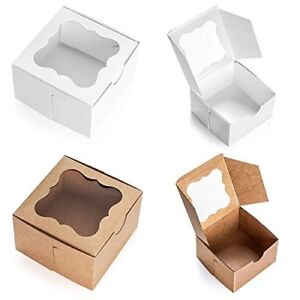 White Bakery Box With Window 4x4x2 5 Inch 25 Pack Eco friendly Paper Board