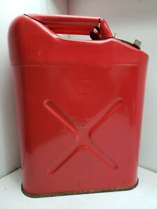 Us Military Red Metal Gasoline Gas Can 5 Gallon Willy s Jeep Blitz