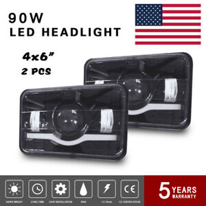 4x6 Led Headlight Assembly Projector Hi lo Sealed Beam 6000k For Kenworth 7us