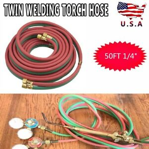 50ft Twin Welding Torch Hose Oxy Acetylene Oxygen Cutting 300psi Industrial New