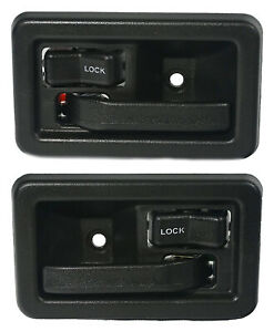 New Front Inside Door Handles Set Of 2 Black For 1991 2004 Jeep Wrangler