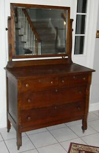 Antique Solid Oak 4 Drawer Dresser W Mirror All Original Chest Of Drawers