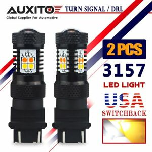 Auxito 2x 3157 Led Switchback Turn Signal Light Drl Amber White Dual Color Bulbs