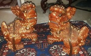 Pair Of Large Antique Carved Foo Lions Or Dogs