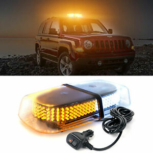 White Amber 240 Rooftop Emergency Warning Beacon Safety Strobe Light Snow Plow