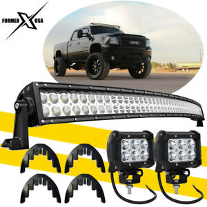 52inch Curved Led Light Bar Combo Kit For 1992 2000 Gmc Yukon Upper Roof Mount