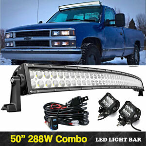 50 Curved Led Light Bar roof Brackets For Chevrolet Silverado 1500 2500 3500hd
