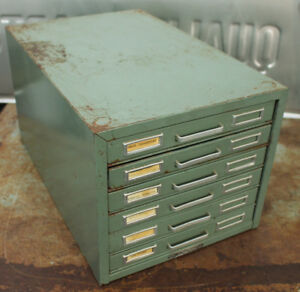 Vintage 1960 s Steelmaster 6 Drawer 5x8 Index Card Holder Filing Cabinet Green
