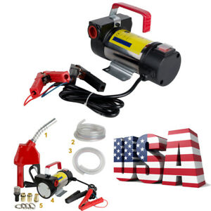 12v Electric Diesel Oil And Fuel Transfer Auto Extractor Pump W Nozzle