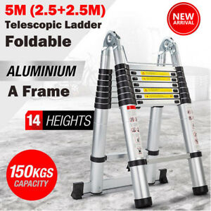 16ft5 Multipurpose Aluminum Ladder Fold Folding Extend Telescopic Garden Tool