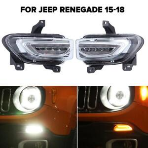 Drl Led Daytime Running Turn Signal Lights White Amber For Jeep Renegade 2015 18