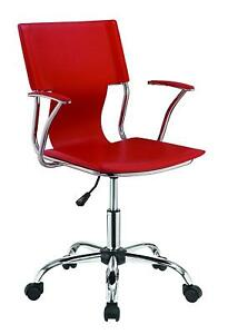Contemporary Office Chair With Red Upholstered Seat And Chrome Frame 801364