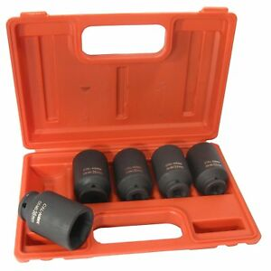 5 Pc 1 2 Drive 6 Point Deep Metric Spindle Axle Nut Impact Socket Set Crm Steel