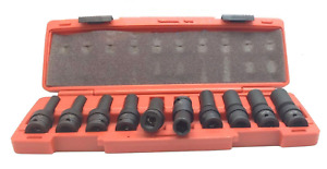 10 Piece 1 2 Drive Universal Swivel Deep Impact Socket Set Metric With Case