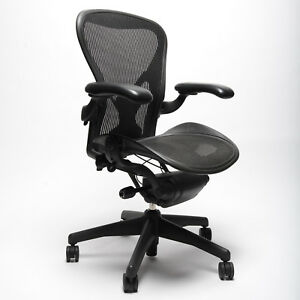 Herman Miller Aeron Chair Size B Medium Fully Adjustable Graphite Leather Arm