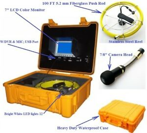 Sewer Drain Pipe Cleaner 7 Lcd 100f 1 4 Cable 1 Inspection Snake Video Camera