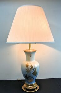 Vintage Marbro Angelfish Blue Porcelain Vase 32 Table Lamp Hollywood Regency