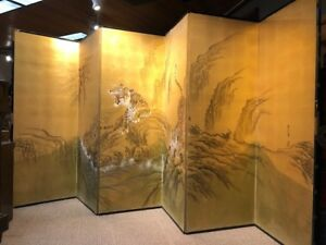 Japanese Antique 6 Panels Byobu Screen
