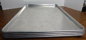 Four Advance Tabco Commercial Quality Full Size Aluminum Bun Sheet Pans