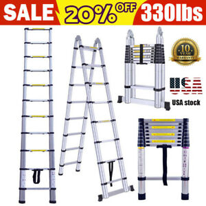 12 5ft 16 5ft Aluminum Multi purpose Telescopic Ladder Extension Foldable 330lbs