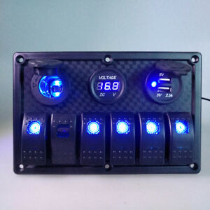 Blue Led 6 Gang Rocker Switch Panel Circuit Breaker Voltmeter Car Marine Boat
