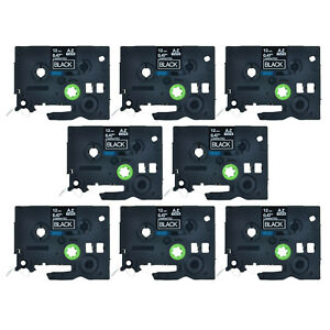 8pk Tz 335 Tze 335 White On Black Label Tape 1 2 For Brother P touch Printer