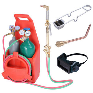 Portable Pro Welding Brazing Cutting Outfit Torch Tool Kit Refillable Acetylene