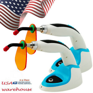 2pcs Usa 10w Wireless Cordless Led Dental Curing Light Lamp 2000mw whitening Ce