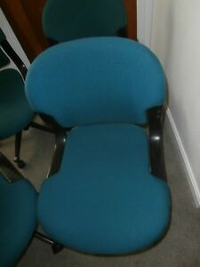 3 Herman Miller Office Type Aquamarine Color Fabric Chairs