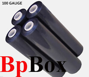 100 Gauge 4 Rolls Black Pallet Shrink Hand Wrap Stretch Film 18 X 1000 1 Box