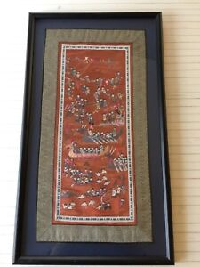 Vintage Chinese Hand Stitch Embroidery On Silk 100 Children Playing Framed