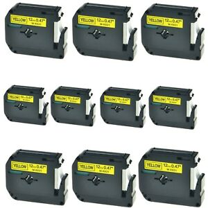 10pk M k631 Mk631 Black On Yellow Label Tape For Brother P touch Pt 65 1 2 12mm