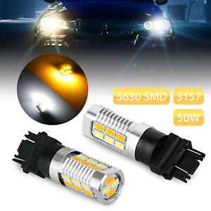 2x White Amber 3157 Led Drl Switchback Turn Signal Parking Light Bulb Dual Color