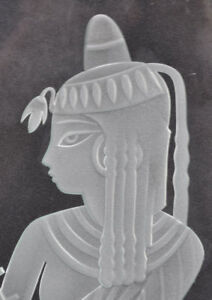 Art Deco Egyptian Revival Harpist Etched Glass Panel Manner Of Lalique Or Daum