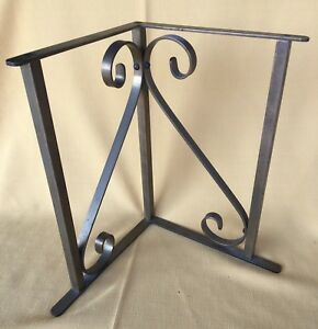 4 Vtg Brass Shelf Brackets Corner Supports Scroll Large 12 Tall