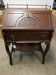 Antique 19th Century Carved Oak Drop Front Ladies Writing Desk
