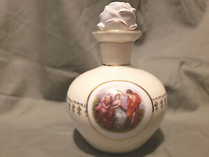 Rare Antique German Porcelain Portrait Perfume Bottle Hand Painted Rose
