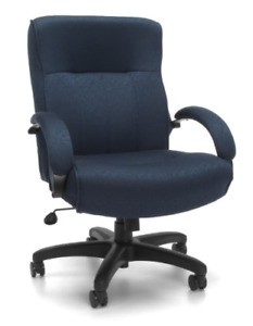 Ofm Big And Tall Fabric Executive Chair Mid back Fabric Computer Chair Navy