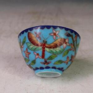 China Old Cloisonne Wire Inlay Dragonfly Flower Cup Blue Ming Chenghua Mark