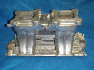 Polished Edelbrock Tr1y Small Block Chevy Tunnel Ram 350 400 2x4 Dual 4 Sbc