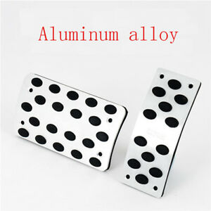 Universal At Pedals Pads Silver Tone Car Gas Brake Metal Pedal Non Slip Covers