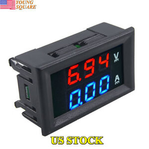 Dual Led Digital Dc 100v 10a Voltage Meter Voltmeter Ammeter Amps Power Meter