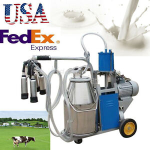 Us Electric Cow Milking Machine Milker Bucket Stainless Steel Piston Vacuum Pump