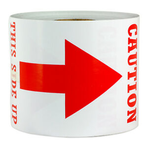 Caution This Side Up Labels Arrow Shipping Sign Post Warning Stickers 3 X 5